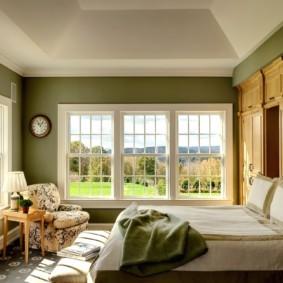 спальня в зеленых тонах идеи дизайна
