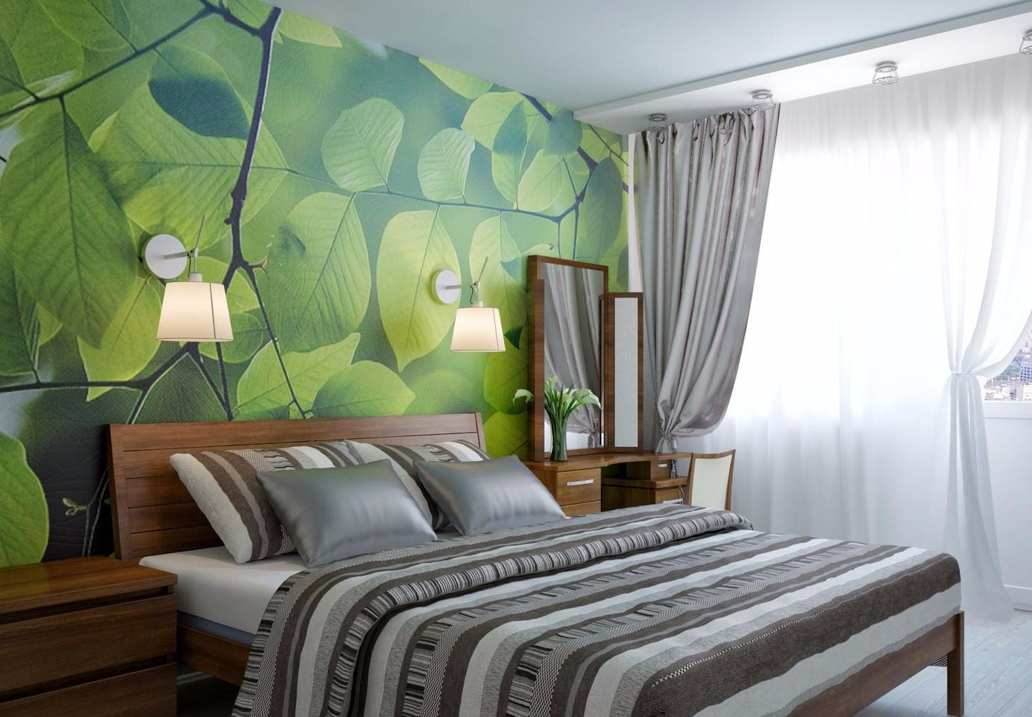 спальня в зеленых тонах идеи оформления