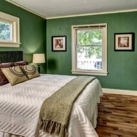спальня в зеленых тонах идеи видов