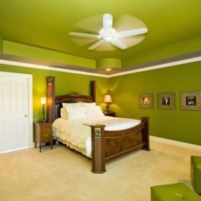 спальня в зеленых тонах идеи виды