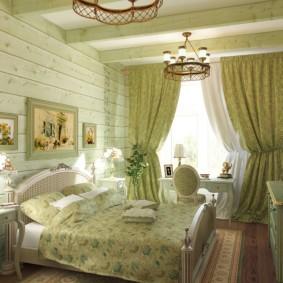спальня в зеленых тонах интерьер фото