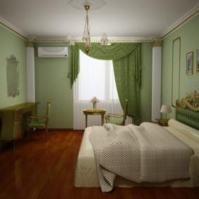 спальня в зеленых тонах оформление