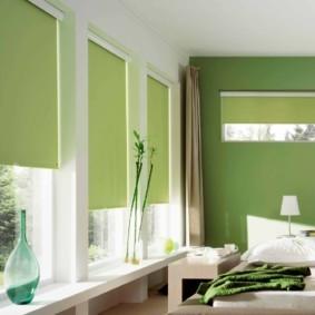 спальня в зеленых тонах оформление фото