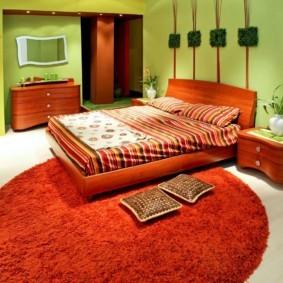 спальня в зеленых тонах оформление идеи