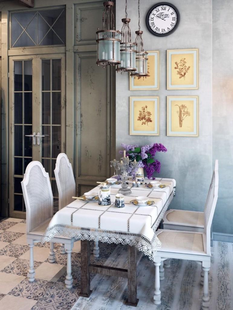Светильник из стекла и латуни над кухонным столом