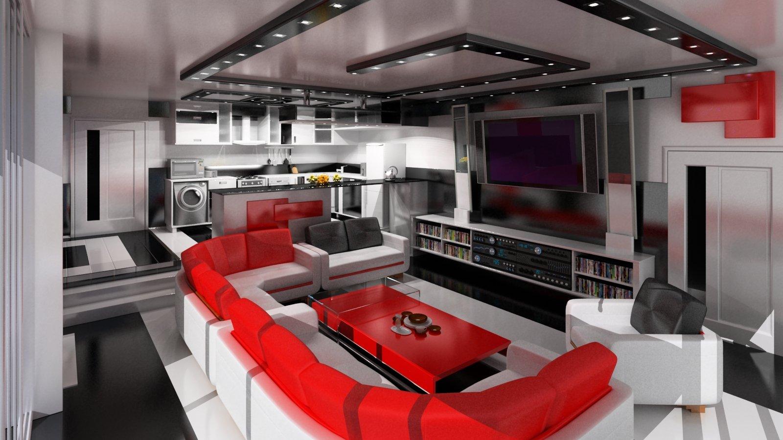 гостиная в стиле хай тек фото интерьера