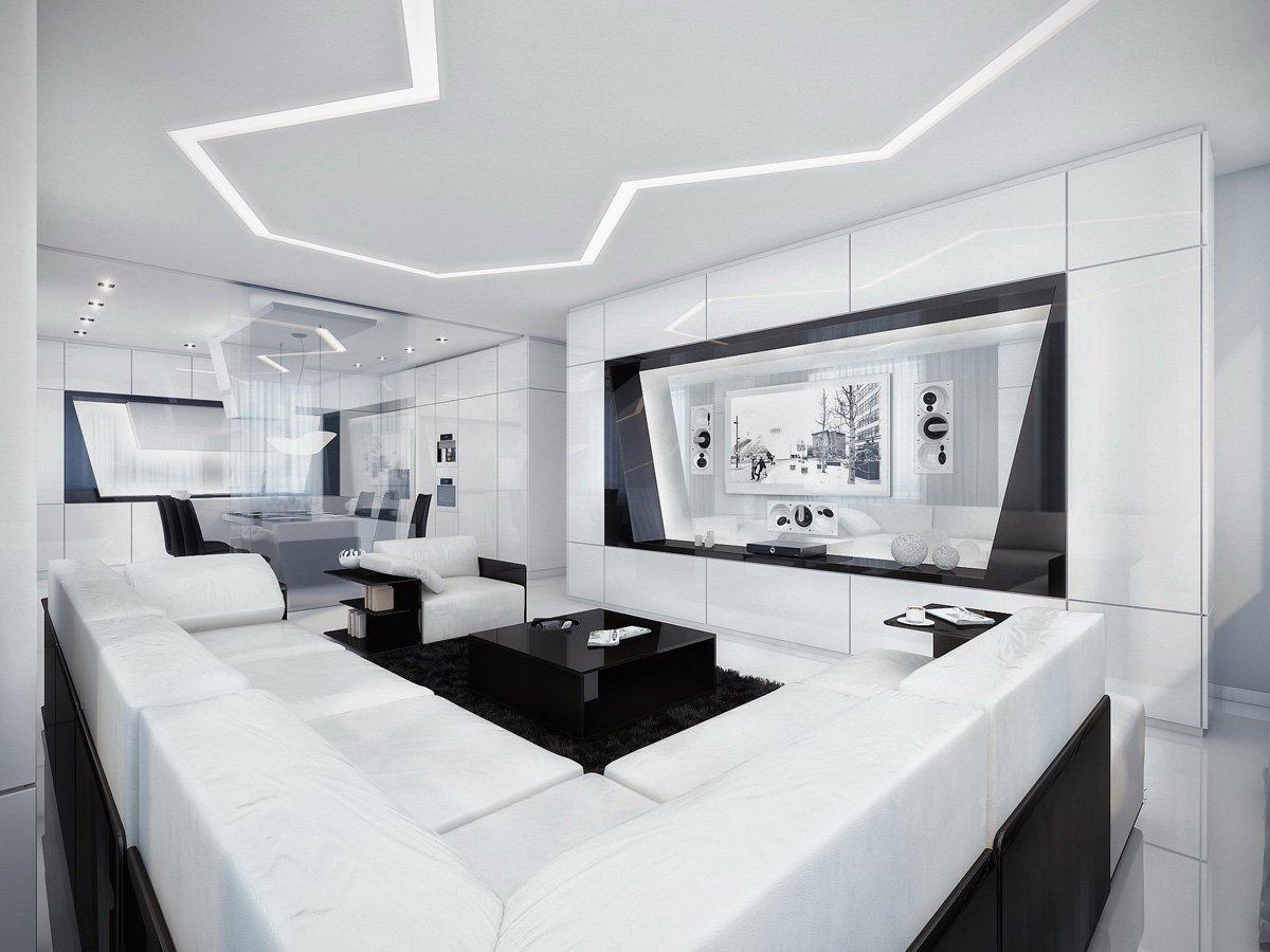 гостиная в стиле хай тек фото видов