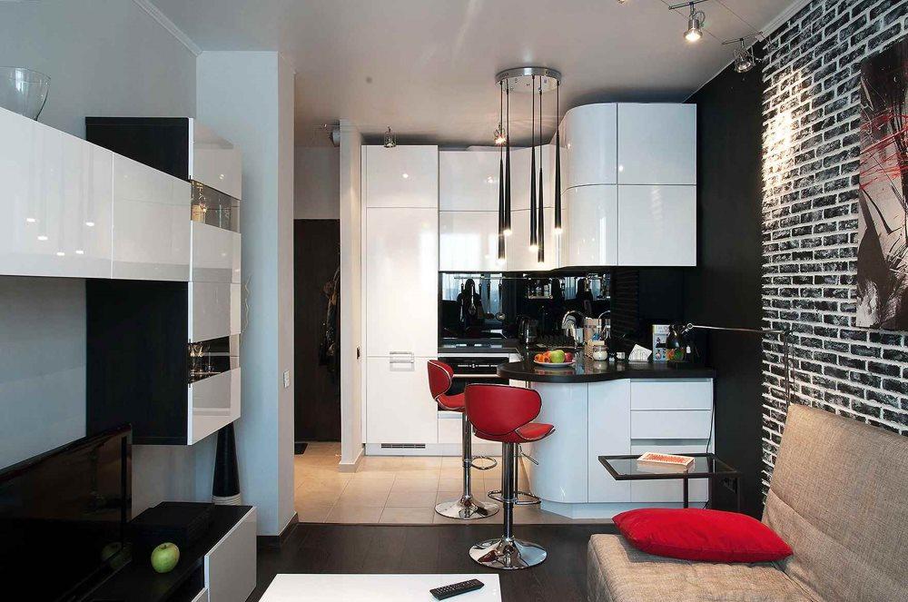 Современная кухня площадью 12 квадратных метров