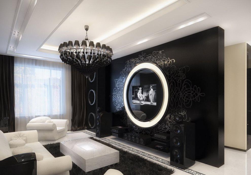 Черная стена в квартире молодых супругов