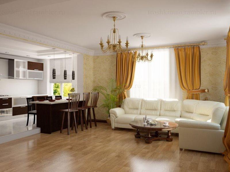 Угловой диван в зоне отдыха столовой-гостиной