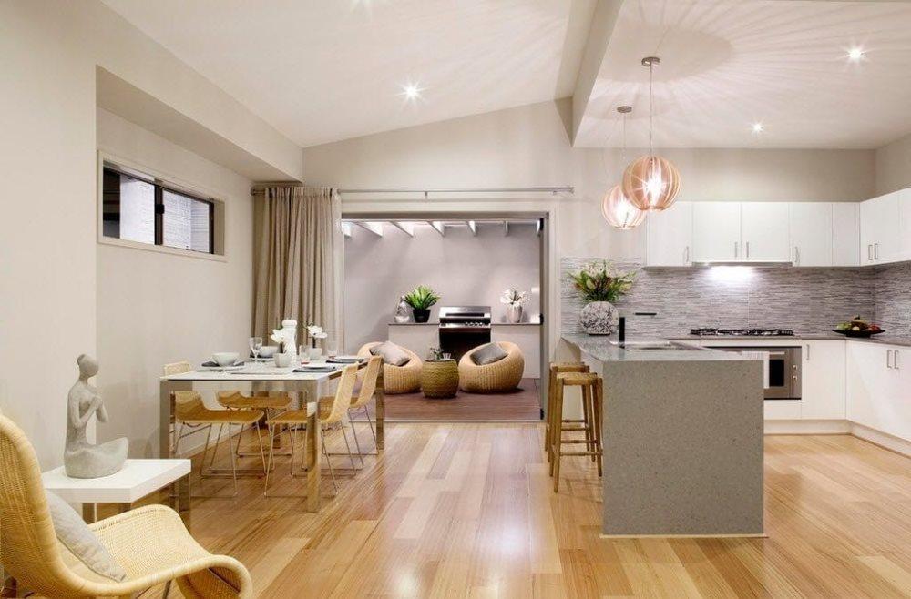 Зонирование кухни-гостиной с помощью света