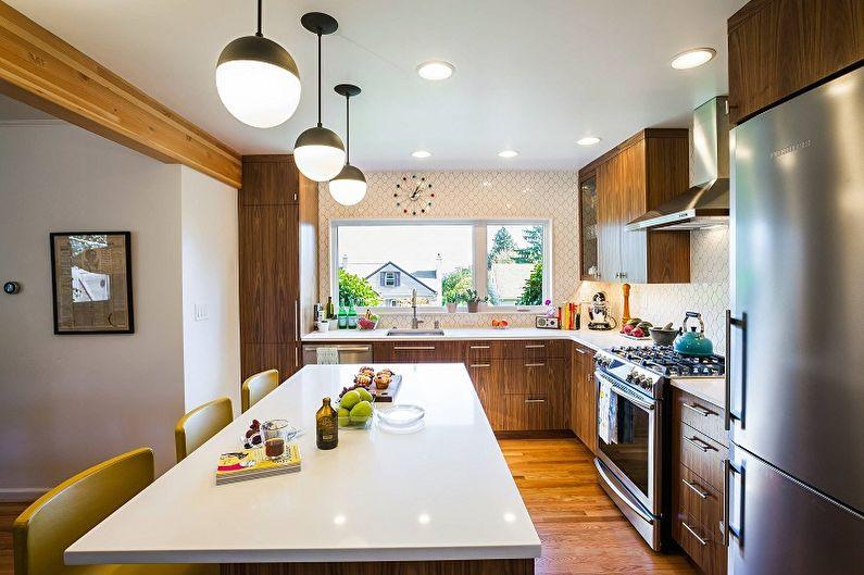 Потолочные светильники над кухонным столом