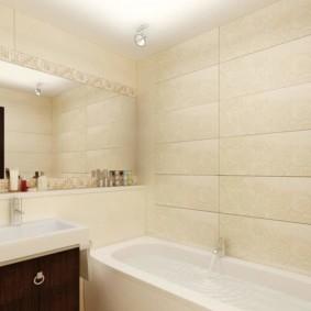 раздельная ванная комната светлая отделка