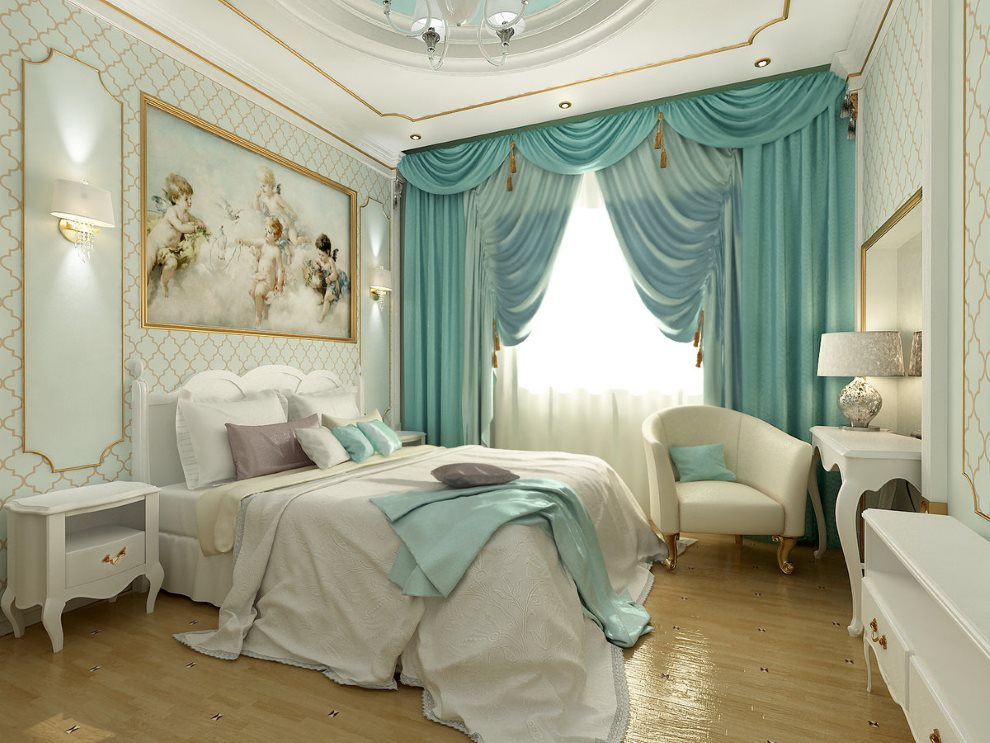 Бирюзовые шторы с ламбрекеном на окне спальной комнаты