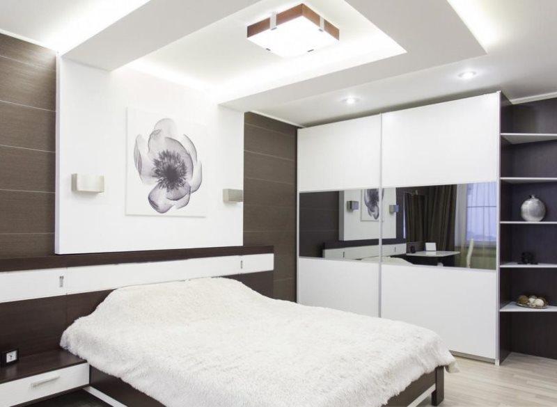 Двухуровневый потолок в спальне стиля хай тек