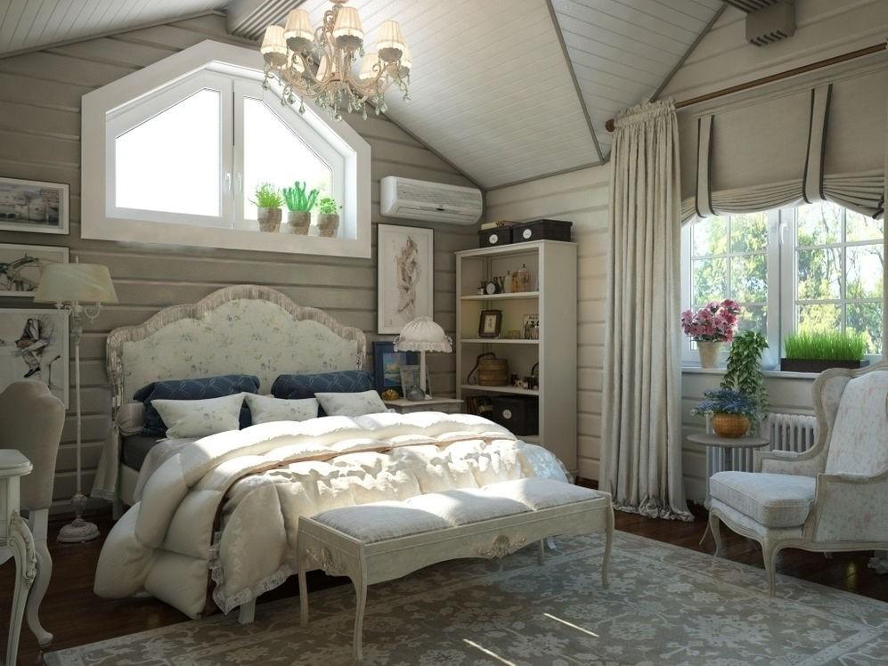 Дизайн светлой спальни в стиле кантри