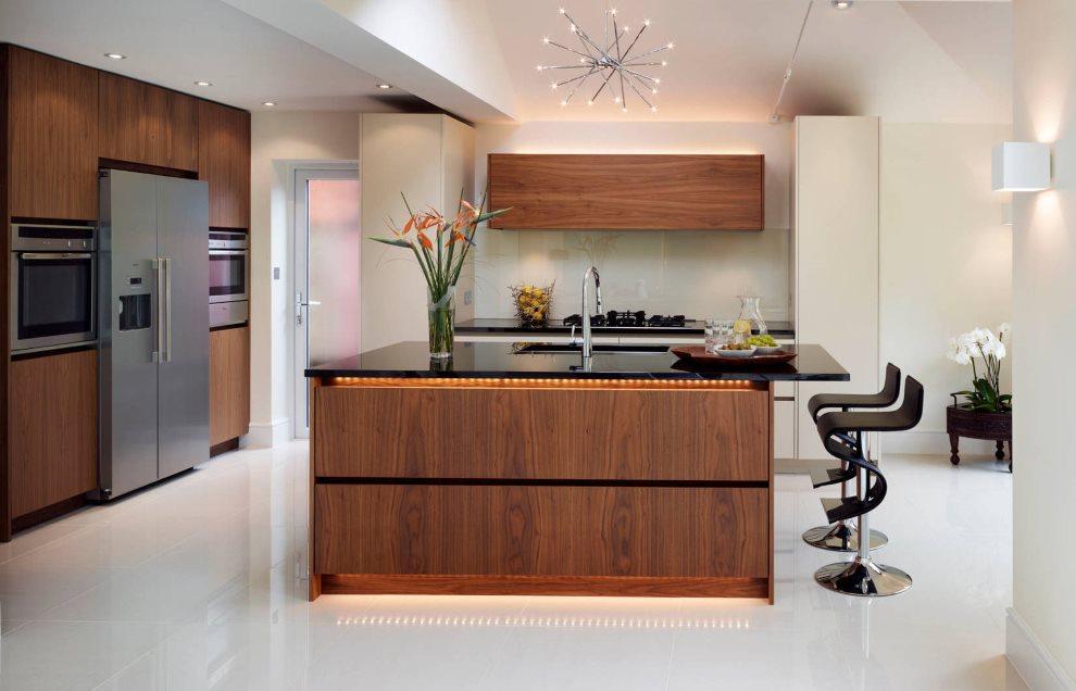 Светодиодное освещение в современной кухне
