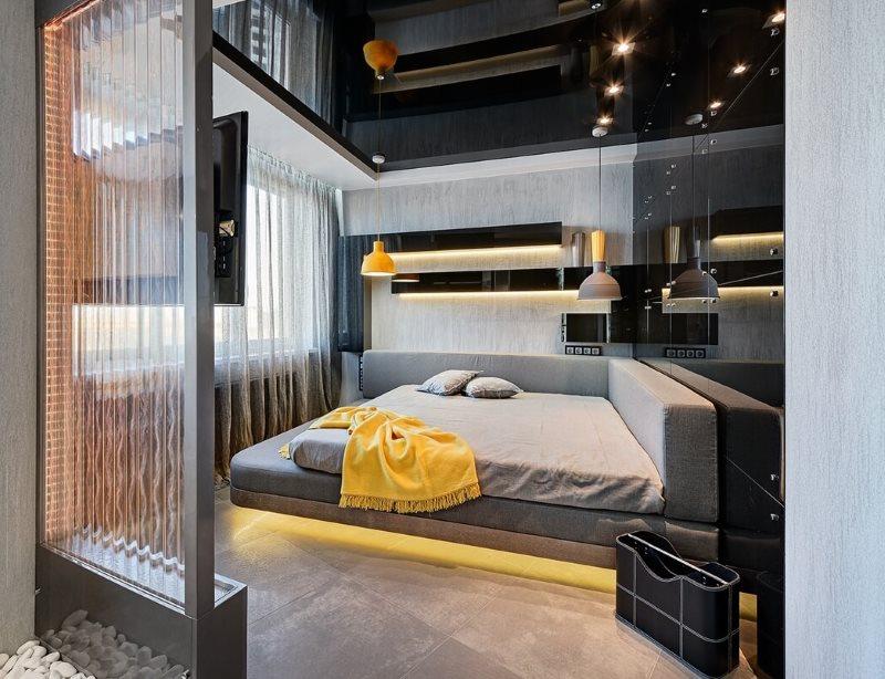 Черный потолок в интерьере спальни стиля хай тек