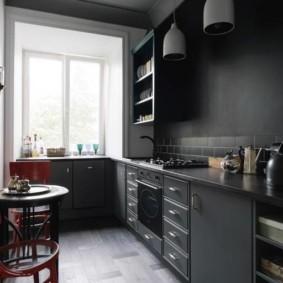 современная кухня темно серая