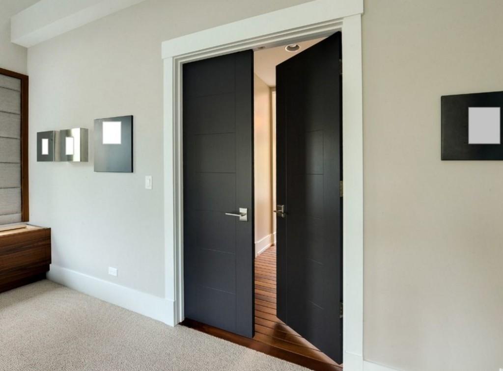Двустворчатая распашная дверь черного цвета