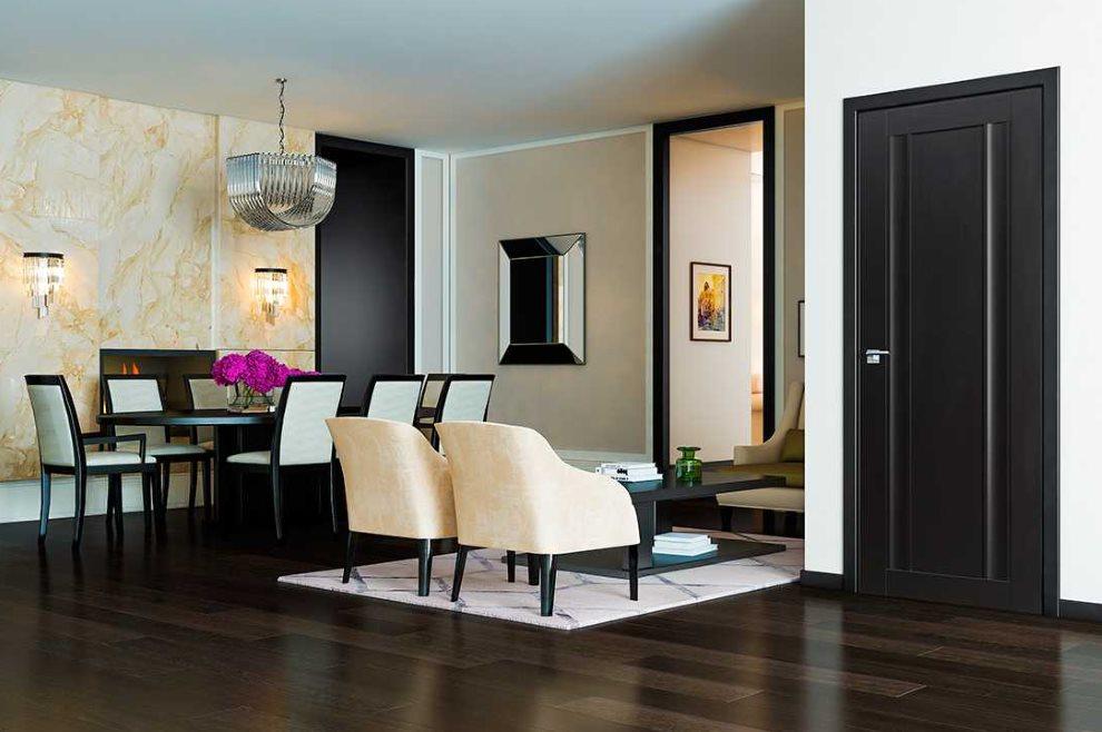 Темный пол в гостиной современного стиля