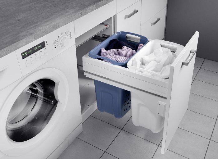 Выдвижной ящик в тумбе для стиральной машинки