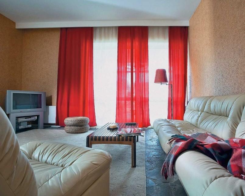 красный тюль для зала