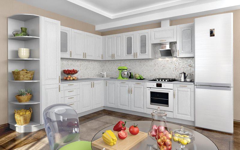 Г-образный гарнитур для кухни средней площади