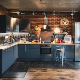 Кухня в стиле лофт с угловым гарнитуром