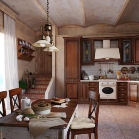 угловая кухня с мойкой в углу дизайн