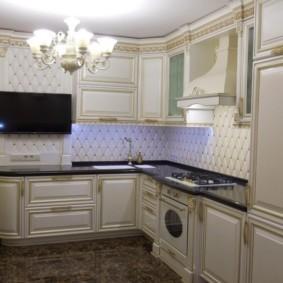 угловая кухня с мойкой в углу фото оформление