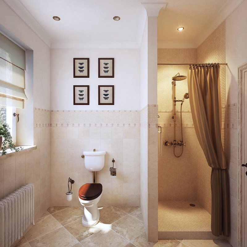 Светлая ванная в стиле прованс с душем