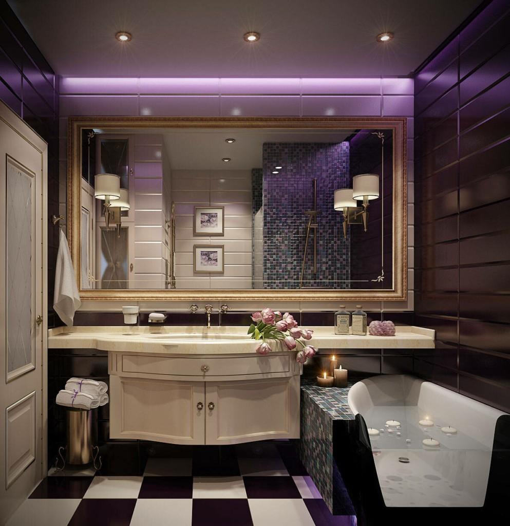Плитка из черного мрамора на стене ванной комнаты