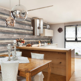влагостойкие обои для кухни интерьер фото