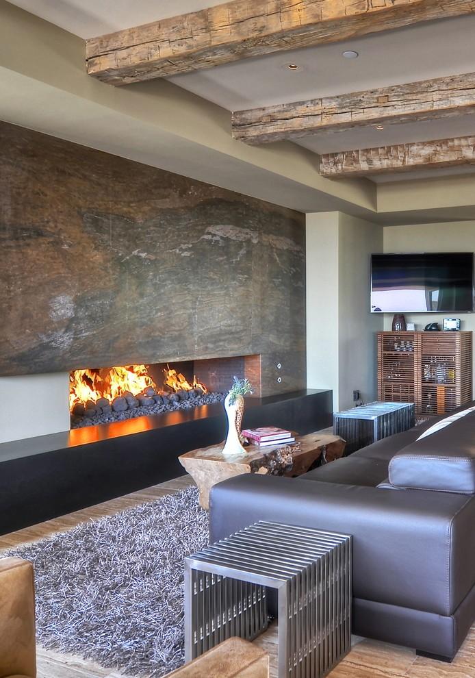 Интерьер гостиной с камином в современном стиле