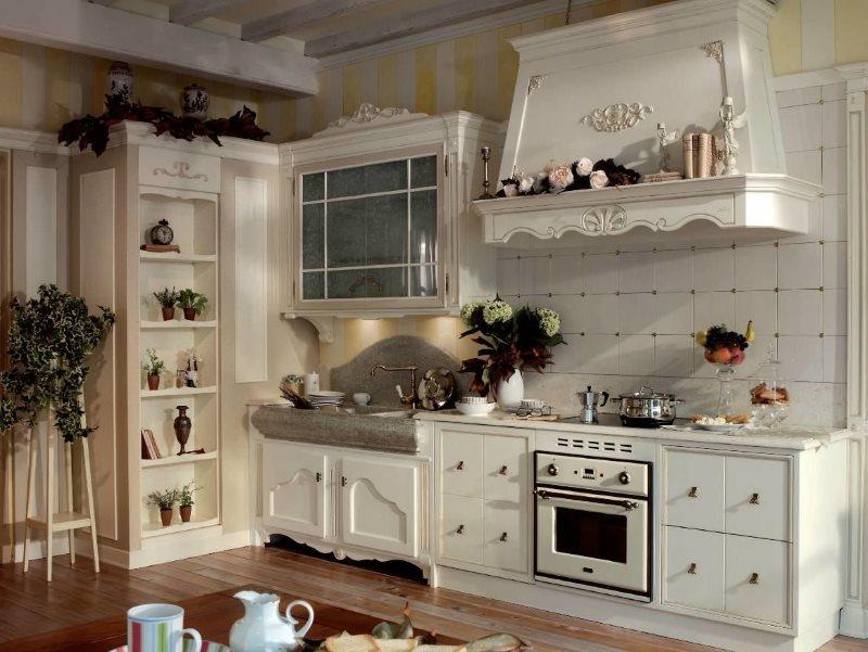 Угловой гарнитур в стиле прованс для кухни частного дома