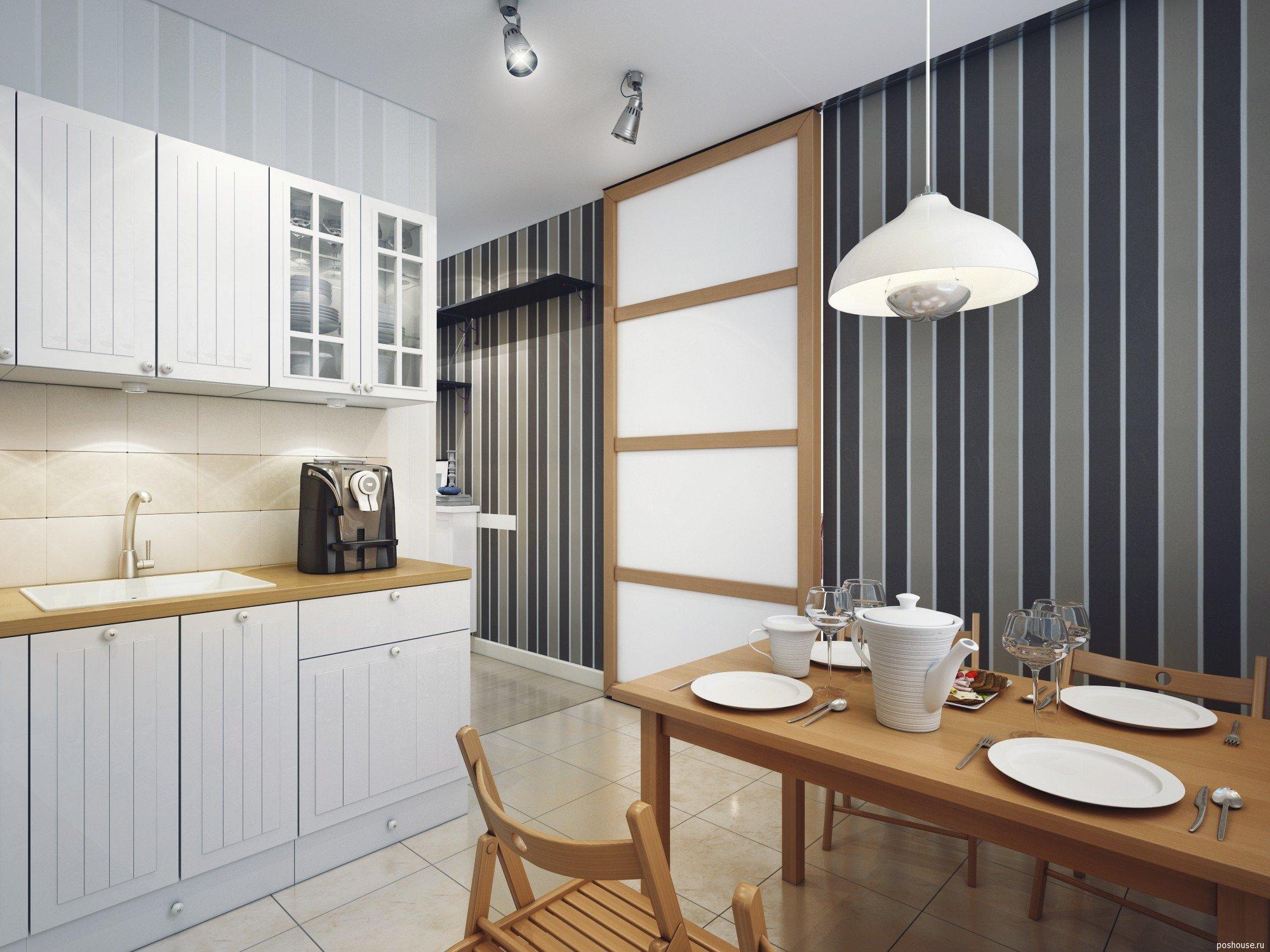 дизайн кухни 2019 в полоску