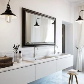 высота зеркала над раковиной в ванной фото дизайн