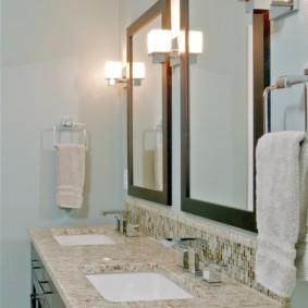высота зеркала над раковиной в ванной декор