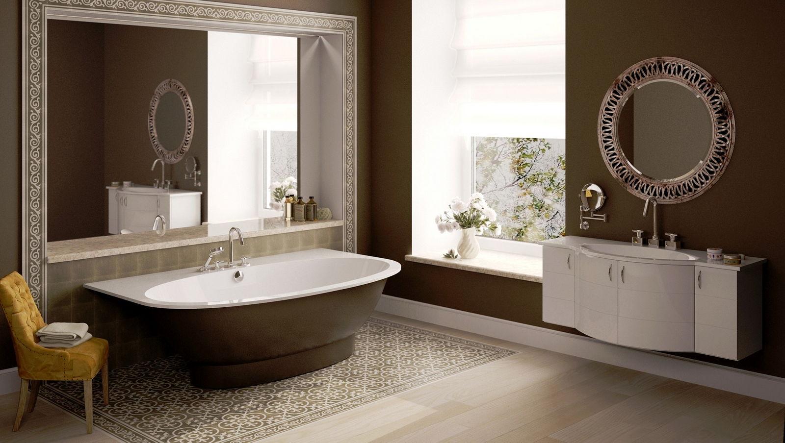 высота зеркала над раковиной в ванной декор идеи