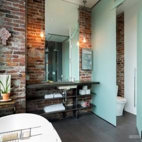 высота зеркала над раковиной в ванной фото интерьера
