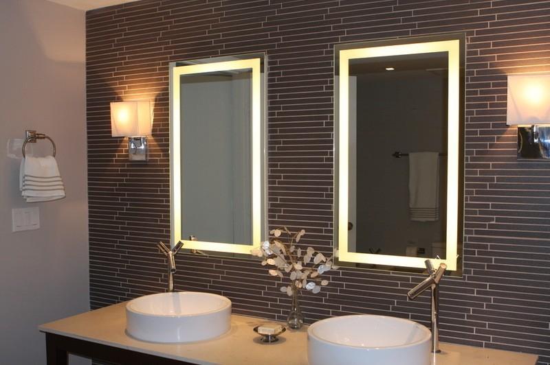 высота зеркала над раковиной в ванной фото оформления