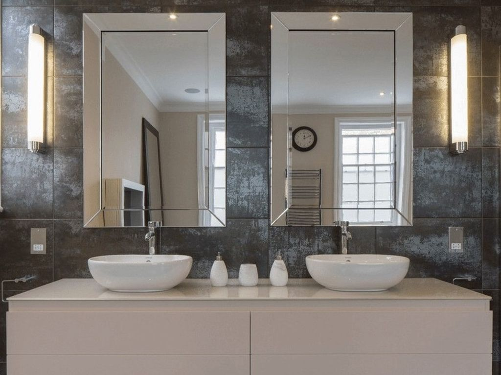 высота зеркала над раковиной в ванной фото видов