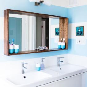 высота зеркала над раковиной в ванной фото виды