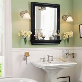 высота зеркала над раковиной в ванной идеи вариантов