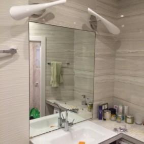 высота зеркала над раковиной в ванной идеи варианты