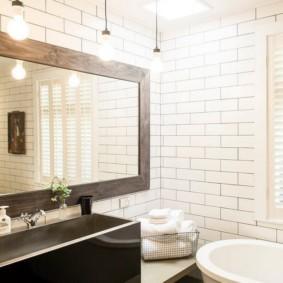 высота зеркала над раковиной в ванной идеи видов