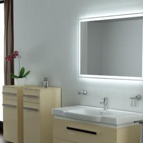 высота зеркала над раковиной в ванной оформление фото