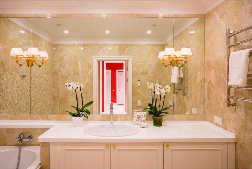 высота зеркала над раковиной в ванной виды