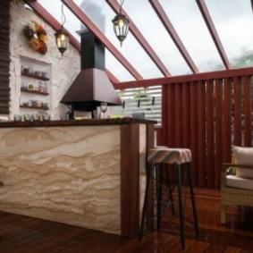 Барная стойка из песчаника в летней кухне